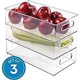 """InterDesign Refrigerator and Freezer Storage Organizer Bins for Kitchen, 8"""" x 4"""" x 14.5"""", Set of 3, Clear"""