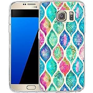 S7 手机壳佩斯利波纹,LAACO 防刮 TPU 凝胶橡胶软皮硅胶保护套适用于三星 Galaxy S7 Galaxy (71)