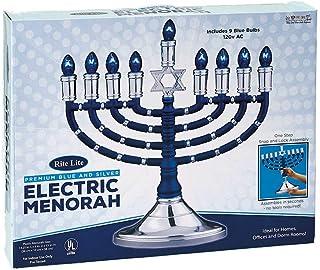 高品质Judaica现代电制烛台带大卫之星和蓝色灯泡,蓝色和银色