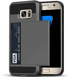 Galaxy S7 手机壳,Anuck 信用卡卡夹式手机壳 Galaxy S7 钱包式手机壳【卡槽夹】【防刮硬壳】双层防震橡胶保护壳适用于三星 Galaxy S7 灰色