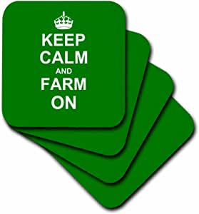cst_157717 InspirationzStore Typography - Keep Calm and Farm on - 携带耕作 - 送给农民的礼物 - 绿色激励* - 杯垫 绿色 set-of-4-Soft cst_157717_1