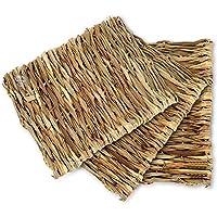 SunGrow 海草兔垫,27.94 x 20.32 厘米,保护爪子免受钢丝笼伤害,手工制作,可食用游戏垫,可用作床上用品或玩具,*兔子*的曲棍球沙发并放在笼子或地板上,3 件装