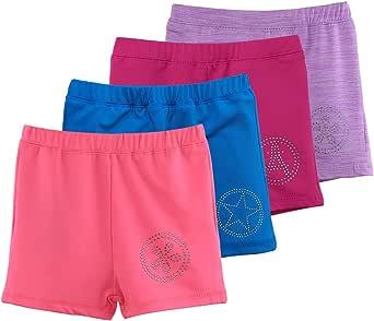 舞蹈短裤适合女孩幼儿、儿童、体操独角兽印花 银色 120 (4-5Y)