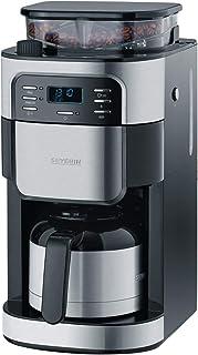 Severin 咖啡机,带研磨器 KA 4812 – 咖啡机带保温仓和定时器功能 – 三个芳香级别 – 也作为过滤器咖啡机 – 不锈钢 - 保温藏可以冲泡8杯 – 1000瓦
