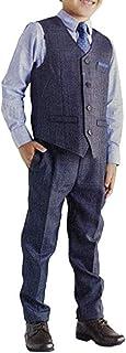 Andy & Evan 男童正装 4 件套带背心、领带、衬衫和裤子(5,*蓝/蓝色)