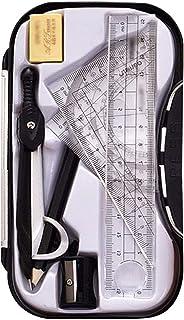 ZLMBAGUS 数学几何绘图工具套件 8 件学生指南针尺量角器铅笔套装办公室和学校用品 均码 黑色