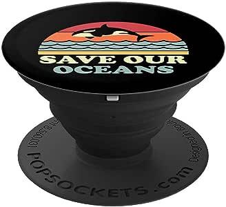 为手机和平板电脑拯救我们的海洋复古鲸鱼气候地球日爆击球手和支架260027  黑色