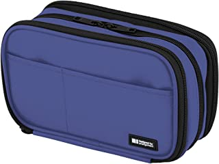"LIHIT LAB 笔盒,7.9 x 2 x 4.7 英寸 Triple: 7.9 x 3.5 x 4.7"" 蓝色"