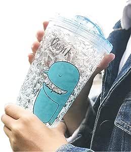 Fyuan 冰冷饮杯带盖和吸管 - 双壁冰淇淋锥,牛奶杯,冰杯,冷饮杯,杯子,冰冷饮杯 - 不含 BPA,315 盎司,蓝色 B-blue 7067