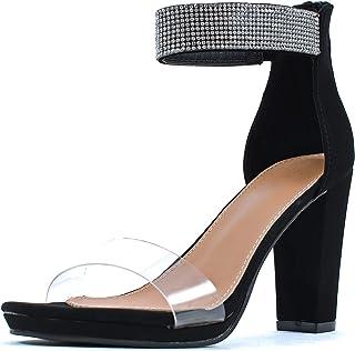 Guilty Shoes 女式透明鞋面系带露趾拉链后跟凉鞋