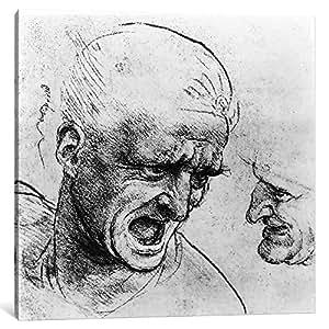 "iCanvasART 1 件""安格里亚战""中两位士兵的头脑研究"",c.1504-05 油画印刷品,Leonardo da Vinci,1.91 x 30.48 cm 26"" x 26""/0.75"" Deep BMN3409-1PC3-26x26"