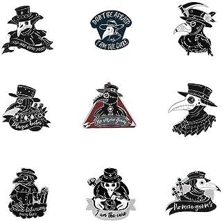 Plague Doctor Beak 搪瓷别针套装,蒸汽朋克卡通胸针徽章适用于背包翻领