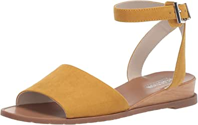 Kenneth Cole REACTION 女士 Jolly 低坡跟凉鞋带踝带平底鞋 Marigold 7