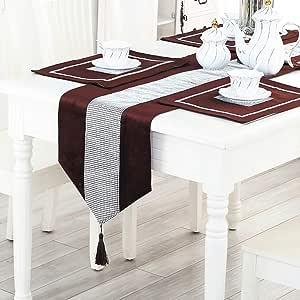 magilona 家庭串珠桌布装饰花卉图案桌巾带流苏餐厅派对13X 83IN