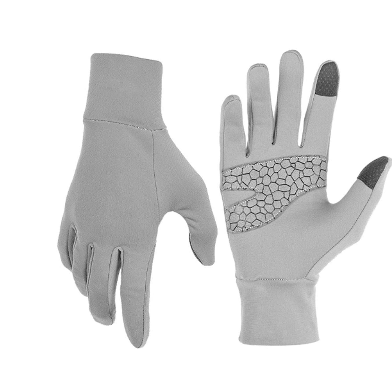 触屏手套男士冬季户外运动磨砂莱卡冬季保暖骑行手套,1 双 S/M 灰色 B271054