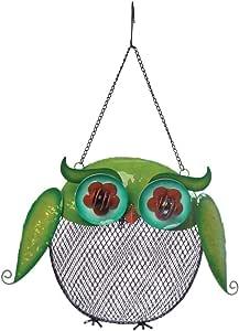 Toland Home 花园彩虹猫头鹰装饰性黑色油画向日葵种子悬挂金属屏幕喂食篮笼适用于野生鸟 230005