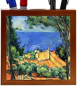 Rikki KnightTM Paul Cezzane Art Design 5 Inch Tile Wooden Tile Pen Holder