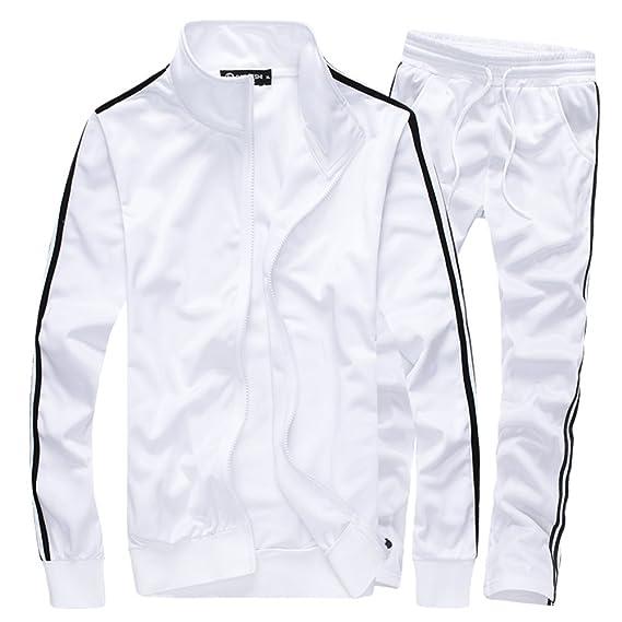 4fbef2d212c18 MACHLAB 男士运动全拉链跑步运动套装休闲运动套装白色Tag 5XL= US XL-服饰箱包-亚马逊中国