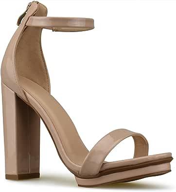 Premier Standard 女式系带粗跟高跟鞋 - 正式,婚礼,派对简约经典防水台高跟鞋 肤色 7 M US