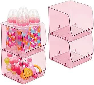 mDesign 塑料儿童/儿童食品收纳收纳盒,15.24 cm 宽 粉红色 4片装 03335MDBEU