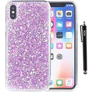 iPhone X 手机壳,iYCK 奢华闪耀闪亮透明弹性软橡胶 TPU 保护外壳混合防撞保护套适用于 Apple iPhone X 紫色
