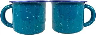 珐琅复古咖啡茶杯户外绿松石花岗岩皿 283.5 克马克杯 - 真正的墨西哥Peltre - 2 件套 Tazas Peltre