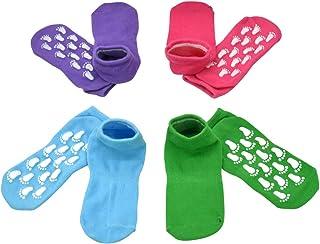 幼儿袜子防滑抓地防滑运动蹦床袜 4 双组防滑适用于女婴/儿童