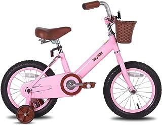 JOYSTAR 14 英寸儿童自行车适用于 4-6 岁女童,儿童自行车带前排篮和训练轮(米色和粉色)