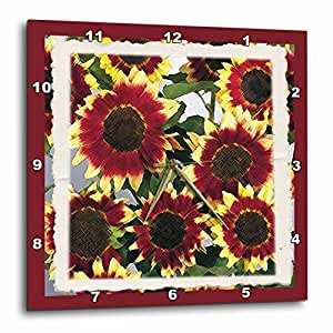 3dRose dpp_18380_2 Sunflowers Blooming-Wall Clock, 13 by 13-Inch