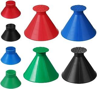 SNAPY 4 件装魔术冰刮刀锥形圆形汽车挡风玻璃冰刀漏斗冰刮刀汽车除雪器铲工具(黑色、蓝色、*、红色)