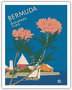 """太平洋岛屿艺术 奥莱德时光百慕大 - Adolph Treidler 创作的复古世界旅游海报 1952 年 - 精美艺术印刷品 11"""" x 14"""" APB8065"""