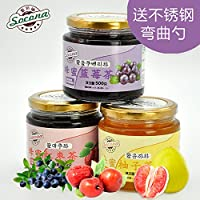 Socona蜂蜜红枣茶+蓝莓茶+柚子茶3瓶装韩国水果酱冲饮品