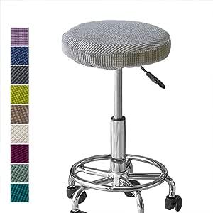 Melaluxe 提花酒吧凳套,弹力圆形椅套,椅座套(2 件装) 浅灰色