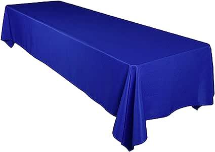 "Pairfair Dessin 缎面桌布和晚餐巾 皇家蓝 Table Cloth - 60""x102"""