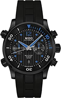 Mido Multifort 自动计时码黑色表盘黑色橡胶男式手表 M0059143705000