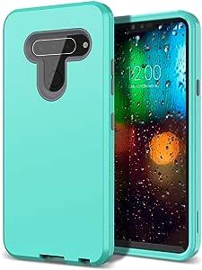 LG V40 手机壳,LG V40 ThinQ 手机壳 (2018) - WeLoveCase 3 合 1 混合坚固护甲三层重型防震硬质 PC 外壳 TPU 缓冲全机身保护壳,适用于 LG V40/LG V40 ThinQ 2018LG V40 ThinQ Case 薄荷绿