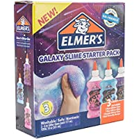 Elmer's 2031521 Elmer's Galaxy Slime Starter Kit with Purple彩色及半透明胶水, Pink & Blue Glitter Glue, 6 Ounces Each, 3 Count