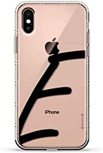 ALBANIAN FLAG 奢华空气系列透明硅胶手机壳带 3D 印花设计和气袋垫缓冲垫适用于 iPhone Xs Max(新款 2018/2019 型号,带 6.5 英寸屏幕)LUX-IXPLAIR-INITIALE1 BLACK INITIAL E1 透明