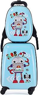 MOREFUN 2 件套儿童行李箱套装,13 英寸和 18 英寸幼儿旅行手提箱,万向轮儿童背包,男孩女孩硬壳行李箱 机器人