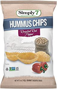 Simply7 Gluten Free Chickpea Hummus Chips, Roasted Red Pepper, 5 Ounce (Pack of 12)