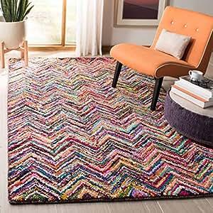 safavieh nantucket 系列 nan311a 手工抽象 V 形图案多色棉质小地毯 ( 5' X 8' )