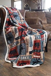 Carstens INC 湖房乡村风格小屋羊羔绒大毯,137.16 厘米 x 172.72 厘米,蓝色