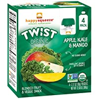 Happy Squeeze Organic Superfoods Twist Apple Kale Mango, 3.17 Ounce Pouch (Pack of 16) (Pack May Vary) Baby Toddler Kid Snack, Resealable, No Added Sugar Non-GMO Kosher, Good Source of Vitamin C