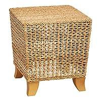 Bloomingville 14 英寸高水醋酸和藤制木腿凳,米色