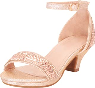 Cambridge Select 女童露趾单带踝带水晶水钻低跟凉鞋(幼儿/小童/大童)