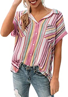 Inorin 女式 V 领衬衫短袖蕾丝 T 恤束腰上衣