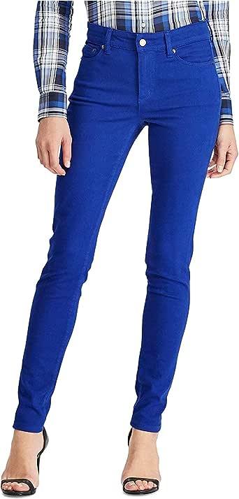 Lauren Ralph Lauren 女式高级紧身牛仔裤亮色皇家蓝 水洗色 8 码