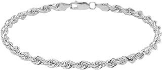 Pori 珠宝商 14K 金 3MM、4MM、5MM 或 7MM 钻石切割绳链项链、手链或脚链 - 尺寸 17.78 - 76.2 厘米 - 选择您的颜色