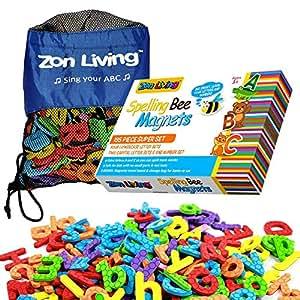 Zon Living 字母磁贴 - 195 件磁性字母和数字套装儿童冰箱磁贴礼品套装手提袋磁性板 ABC 磁铁适用于幼儿