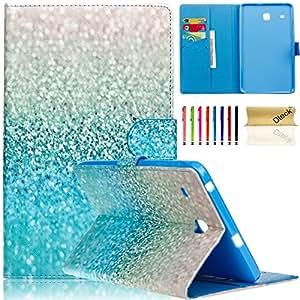 Galaxy Tab E 8.0 英寸平板电脑保护套,Dteck 超薄可爱卡通 PU 皮革保护带磁扣翻盖支架保护套适用于三星 Galaxy Tab E 8.0 SM-T375 平板电脑5746805 01 Shining Blue Sand